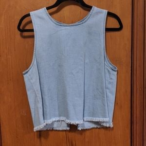 Aerie frayed denim tank- slightly cropped